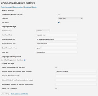 Translate This Button WordPress plugin settings